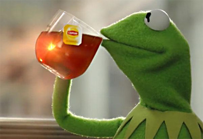 Kermit Drinking Meme Generator: person...